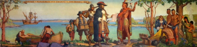 This is a mural that graces a wall in our town's library titled: The Purchase of Mamaroneck from the Siwanoys, 1661. It was painted with the auspices of the W.P.A. (Works Project Administration) in 1936 by Warren Chase Merritt d.1968.